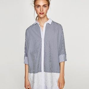 Zara Striped Contrasting Shirt Dress